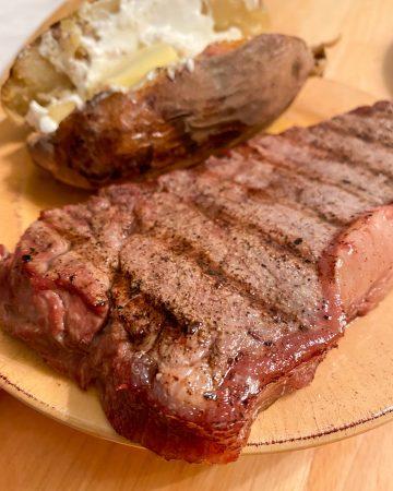 Sear marked steak